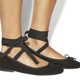 Office ankle tie ballet flats