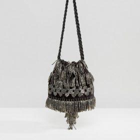 ASOS velvet beaded pouch bag