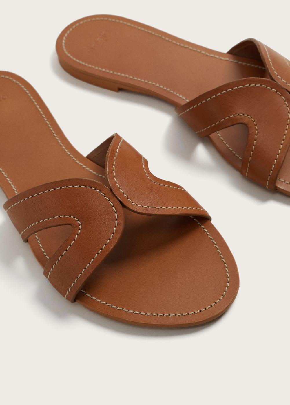 Mango tan leather flat sandals - Little Spree