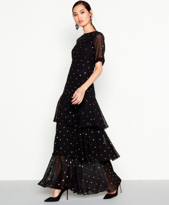 Debut black embellished tiered dress