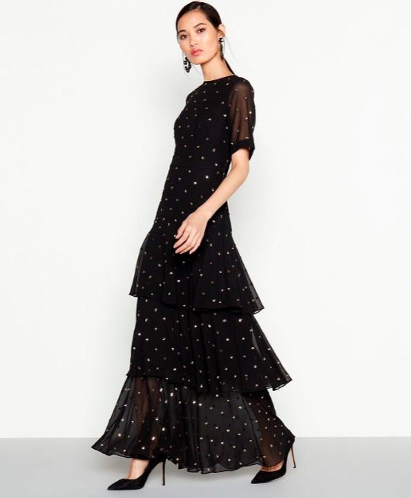 Debut black embellished tiered dress