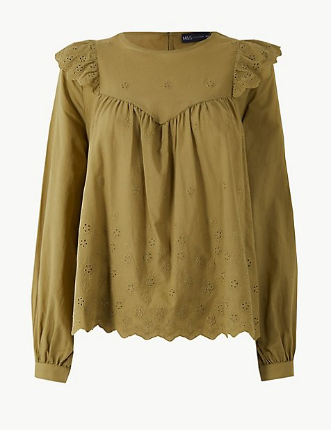 M&S cotton embroidered top