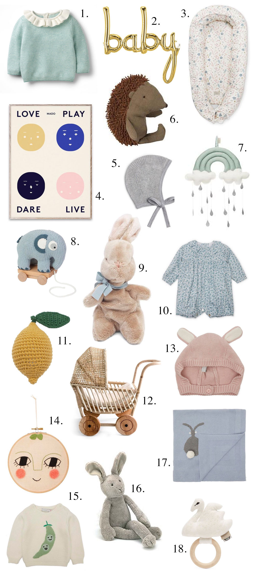 Cashmere baby jumper | Boden 2. Baby balloon | Northstar Balloons 3. Baby nest | Cam Cam Copenhagen 4. Print | Mado 5. Cashmere hat | Arket & The Perfect Baby Gift u2013 LittleSpree - Style inspiration by Sarah Clark